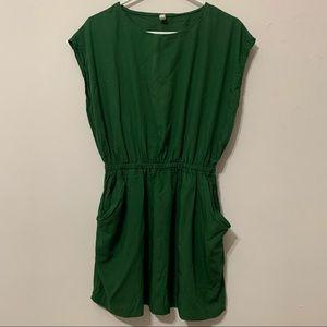 Green Cinched Waist Dress